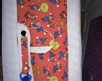 3 Piece Super Mario Baby Set...Bib, Burping Cloth, and Pacifier Holder