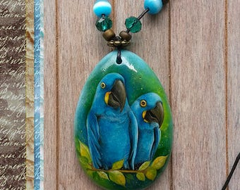 Original oil painting on jasper pendant, Oil painting necklace, hand painted stone, parrot