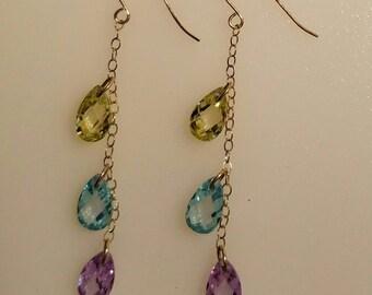 14k Yellow Gold Dangle Drop Blue, Purple and Yellow CZ earrings