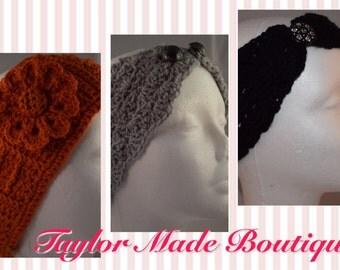 Ladies stylish ear warmers - handmade acrylic & merino wool available