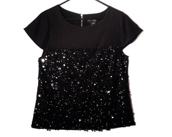 Vintage Sequin Beaded Black Top