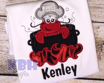 Crawfish Boil / Lobster Embroidered Tshirt