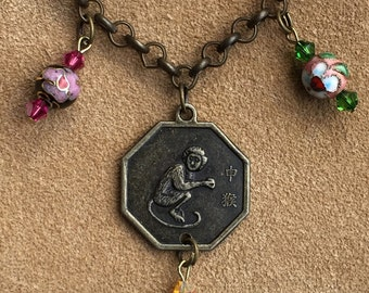 Year of the Monkey Octagon Asian Reversible Two-Sided Charm Bracelet Chinese New Year Lunar New Year