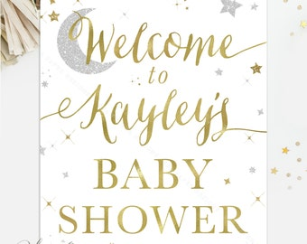 """Welcome Twinkle Little Star Baby Shower Sign, White, Gold & Silver Glitter - Printable / Printed - 8x10"""", 11x14, 16x20 or 20x24"""