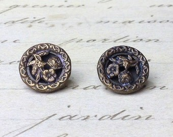 2 Small Antique Rose Picture Metal Buttons 14 mm