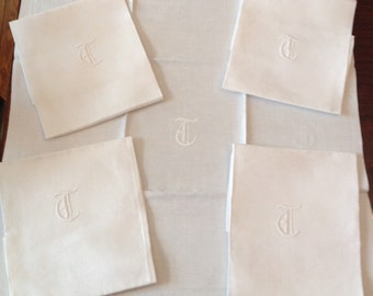 "Linen Dinner Napkins Set of 5 Monogrammed ""T"""