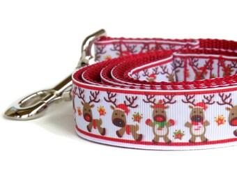 Red Reindeer Dog Leash - Christmas Dog Leash