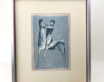 Mid Century Signed and Framed Fine Art Print 1953
