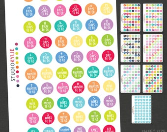Countdown Planner Stickers - Repositionable Matte Vinyl Stickers