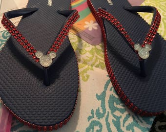 Mickey Mouse flip flops with rhinestone crystals