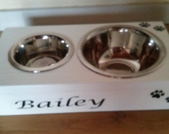 Wooden box for dog bowls - can be personalised with your dog's  (cat) name