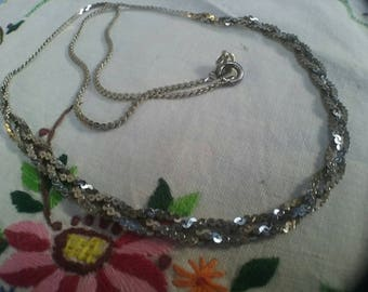 Vintage Sterling Silver Braided Necklace Chain Vintage Wedding , Gifts For Her