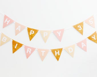 35th Birthday Banner, 35th Birthday Bunting Printable, Champagne, Blush, Gold | INSTANT DOWNLOAD