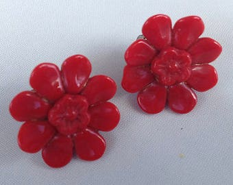 1950s Red Flower Clip Earrings