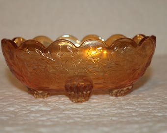 Z1  Iridescent Floragold Four Footed Candy Dish Jeannette Glass Company Louisa Flowers Nuts 4 Toed