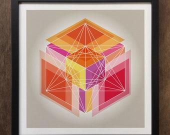 Abstract Geometrical 3d shapes Framed Art Print Geo-ART95