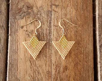 TIKA Beige Latte EARRINGS gold plated and glass Miyuki beads weaving