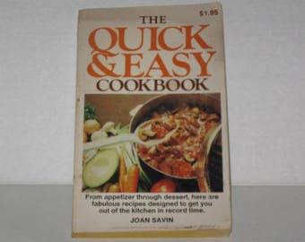 Quick & Easy Cook Book, Joan Savin Cookbook, Vintage Cookbook, Recipes, Cooking, Vintage Recipes, Paperback Cookbook, Home Cooking, Recipe