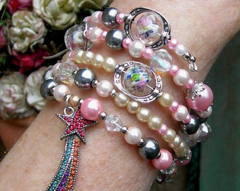 Pink pearls and glass flower wrap bracelet