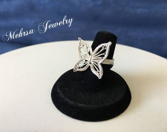 Silver Filigree Butterfly Ring, Charm Ring, Gift Jewelry