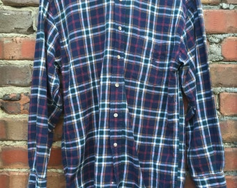 Vintage Men's Check Long Sleeve Shirt Dark Blue Size Medium