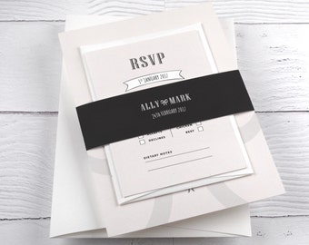 Wedding Invitation, Blush, Grey, Large Bow, Bellyband, RSVP - SAMPLE