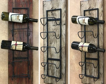 WINE RACK Wall Wood 5 Bottle Holder with Metal Home Decor Distressed Sturdy Kitchen Bar Wine Bath Towels Room Rustic Antique Red Cream White