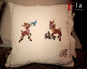 Bambi pillow for baby girls, embroidery Bambi fairy tale pillow, cartoon creatures for kids