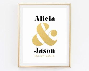 Custom Wedding Print, Custom Name Design, Wedding Anniversary Gift, Wedding Date Art, Personalized Couples Love Printable, Ampersand Print