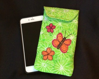 iPhone 6/7 Plus case, Smart phone case, padded batik fabric pouch, Gadget case. Large phone pouch, iPhone bag, eyeglass, iPhone 7 case 6P#32