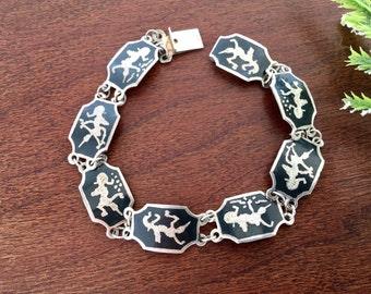 Siam sterling jewelry, siam silver bracelet, vintage siam bracelet, thai niello bracelet, sterling link bracelet, 1960s jewellery for women