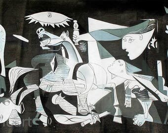 Hand Painted pablo picasso Guernica 1937 Oil Painting On Canvas Reproduction For Room Decor Or Gift