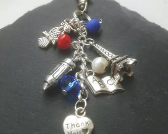 French Teacher gift - Teacher Bag Charm - French tutor gift - French assistant - thank you teacher - teacher gift - foreign exchange gift