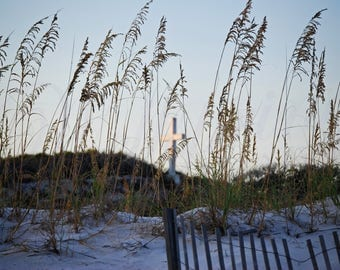 Pensacola Beach Cross photography, Cross on dune with Seaoats photo, Beach cross and sea oats picture