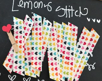 10 Count, Fabric Washi, Deep Rainbow Hearts