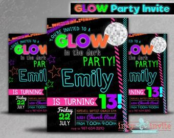 Glow in the Dark Birthday Party Invitations | Teen Neon Black Light Girls Boys Digital | Tween Customize Personalize Printable file