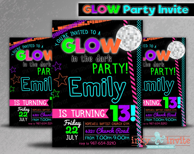 Pool Party Invitation Neon Birthday 13th Boy Glow In