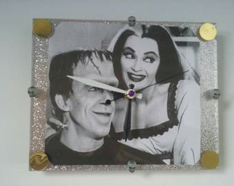 Awesome Munsters Acrylic Wall Clock, Functional Art, The Munsters, Vintage TV Clock, Handmade Clock, Retro Clock, Made By Mod.