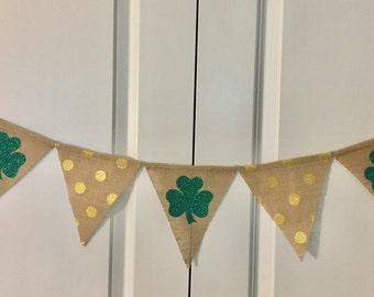 Shamrock Banner, St. Patrick's Day Banner, Green Glitter Shamrock Garland