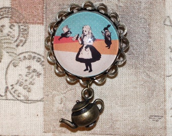 Cute bronze Alice In Wonderland brooch with teapot charm