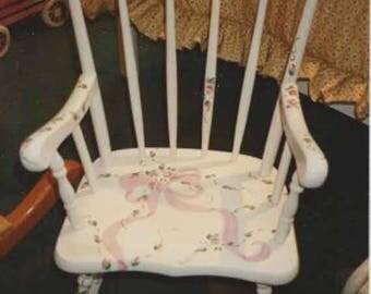 child's rocking chair, baby gift, flower girls rocker, new baby gift, hand painted child's rocking chair