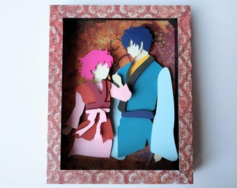 """Yona of the dawn, Yona and Hak - Layered Paper Cut Art Piece 8""""x10"""" Shadowbox Frame"""