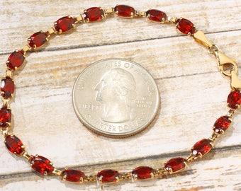 Vintage 14K Yellow Gold Mozambique Garnet Gemstone Line Tennis Bracelet 7 inches, January Birthstone