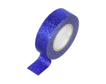 "Decorative Paper Tape ""Blue Glitter"", 0.59"" (15mm) x 5.4 Yards (5 Meters) Decorations, Gift Wrapping Scrapbooking Card Making"
