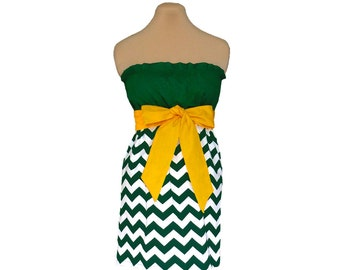 Green + Yellow Chevron Game Day Dress