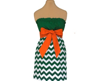 Orange + Green Chevron Game Day Dress