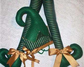 Christmas, Holiday, Green striped legs, golden ribbon, sepherds crook hat