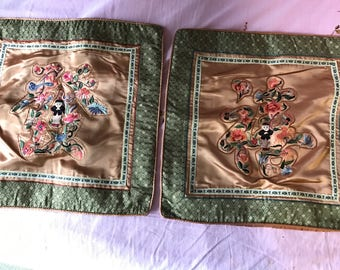 Vintage silk embroidered Chinese cushion cover pair