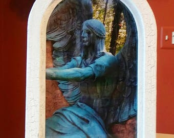 Custom arched frame cemetery photography from Lake view cemetery in Cleveland Ohio. Hand made 1 of 1