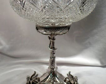 Silver Plated Compote, Snake, Griffins on Legs, Strawberry Fan Cut Crystal Bowl